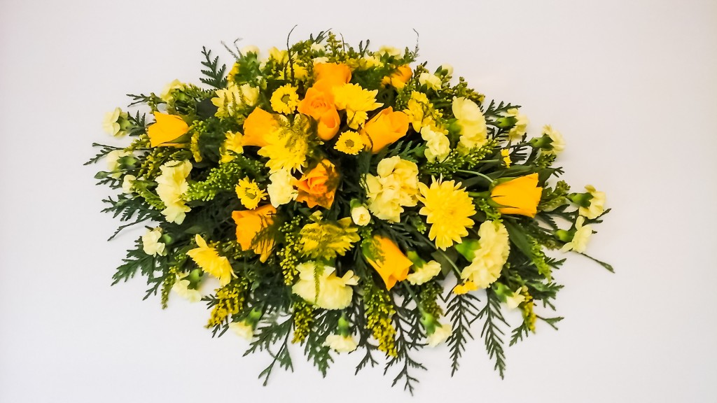 All Yellow Oasis Spray, Radcliffe Florist, Funeral, Fresh Flowers
