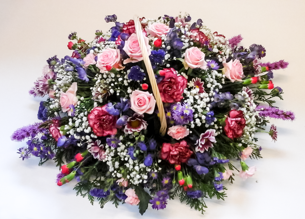 Baskets, Pink, Cerise, Purples, White, Flowers