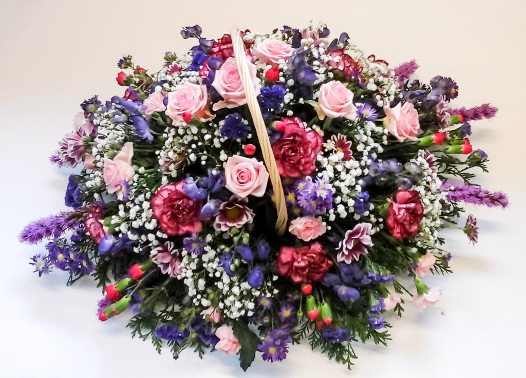 Baskets, Pink, Cerise, Purples, White, Flowers