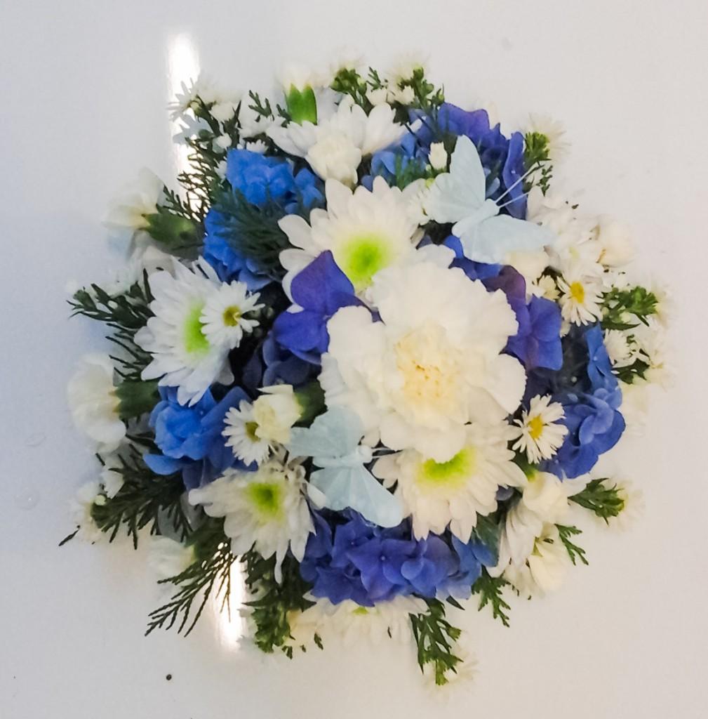 Blue, White Posy, Blue Hydrangea, Florist, Flowers, Radcliffe