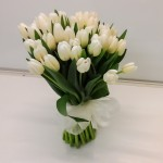 Brides ivory tulips hand tied