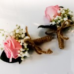 Buttonhole Pink Rose and Gypsophilia