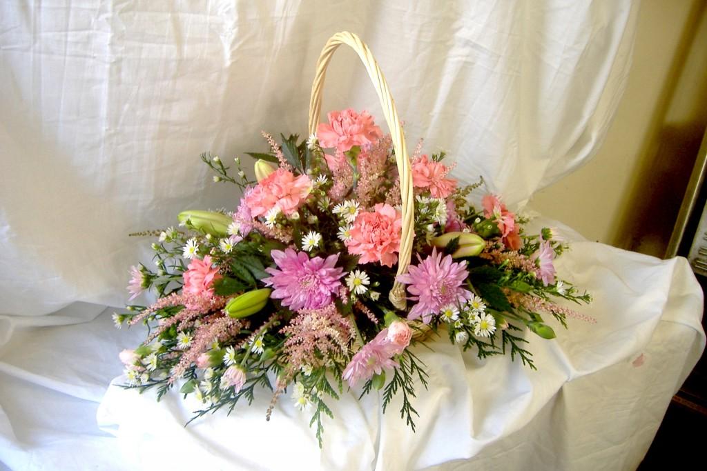 Basket Gift, Pink, White, Flowers, Florist, Radcliffe