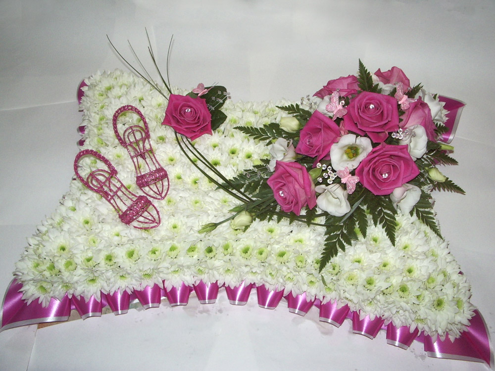 Blocked Pillow, White, Pink, Funerals, Radcliffe Florist