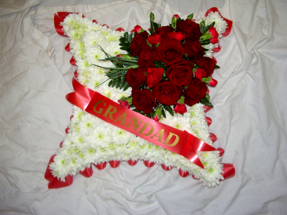 03 Blocked Cushion White Red Roses, Funeral, Radcliffe Florist, Flowers