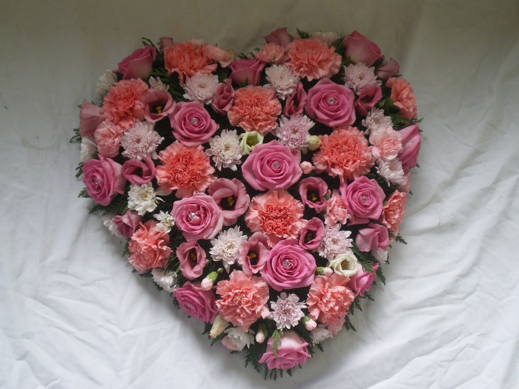 Loose Pink Heart, Funerals, Fresh Flowers, Radcliffe Florist