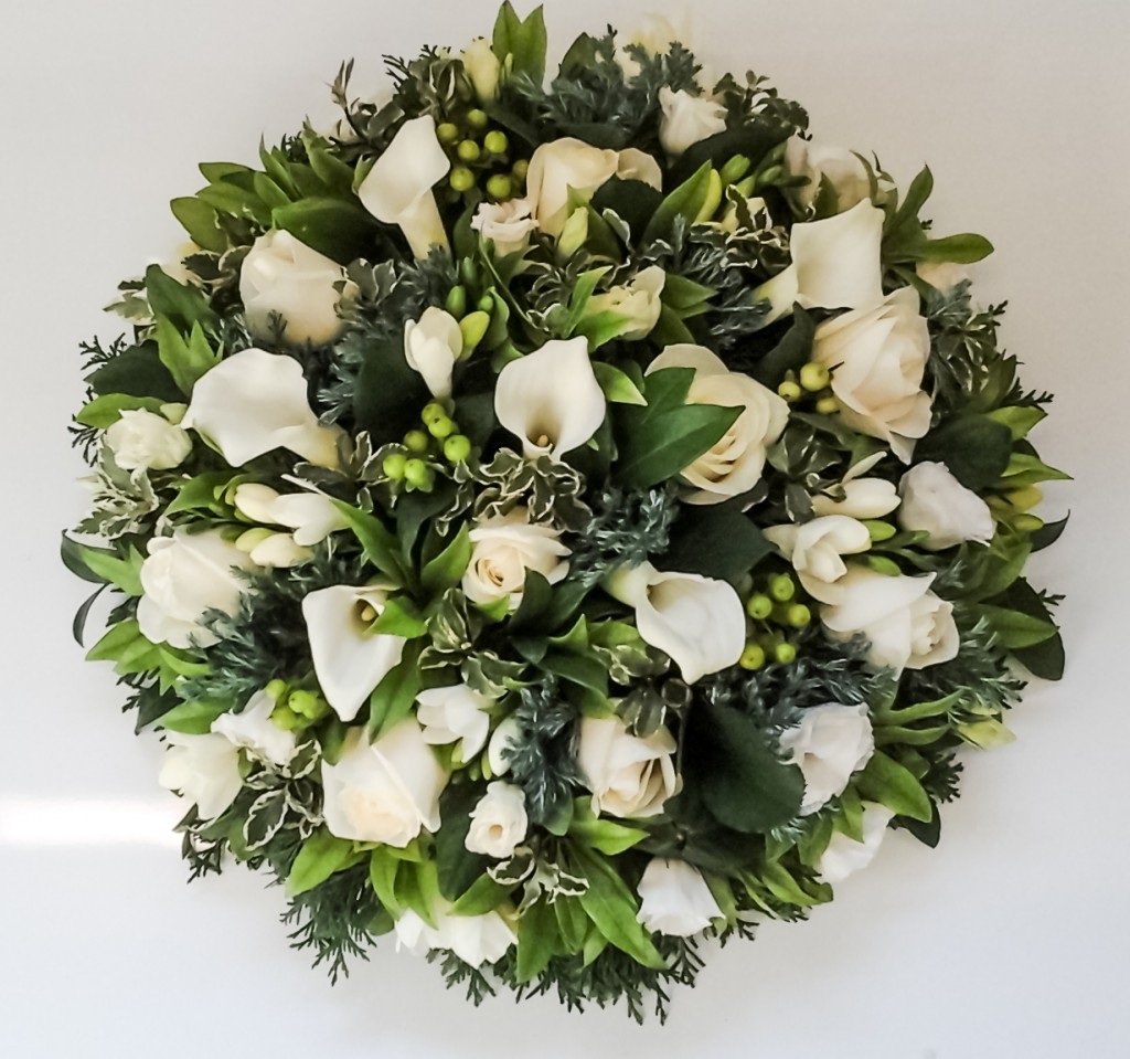 Loose Posy Pad White and Green, Calla Lilies, Roses, Freesia, Hypericum