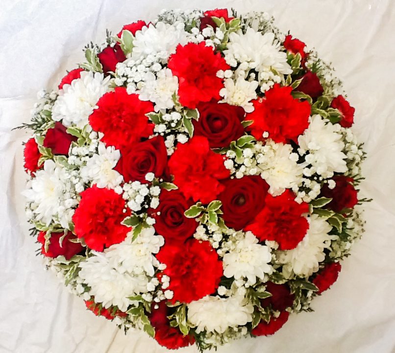Loose Red White Posy Pad, Roses, Carnation Mix, Florist Radcliffe, Flowers