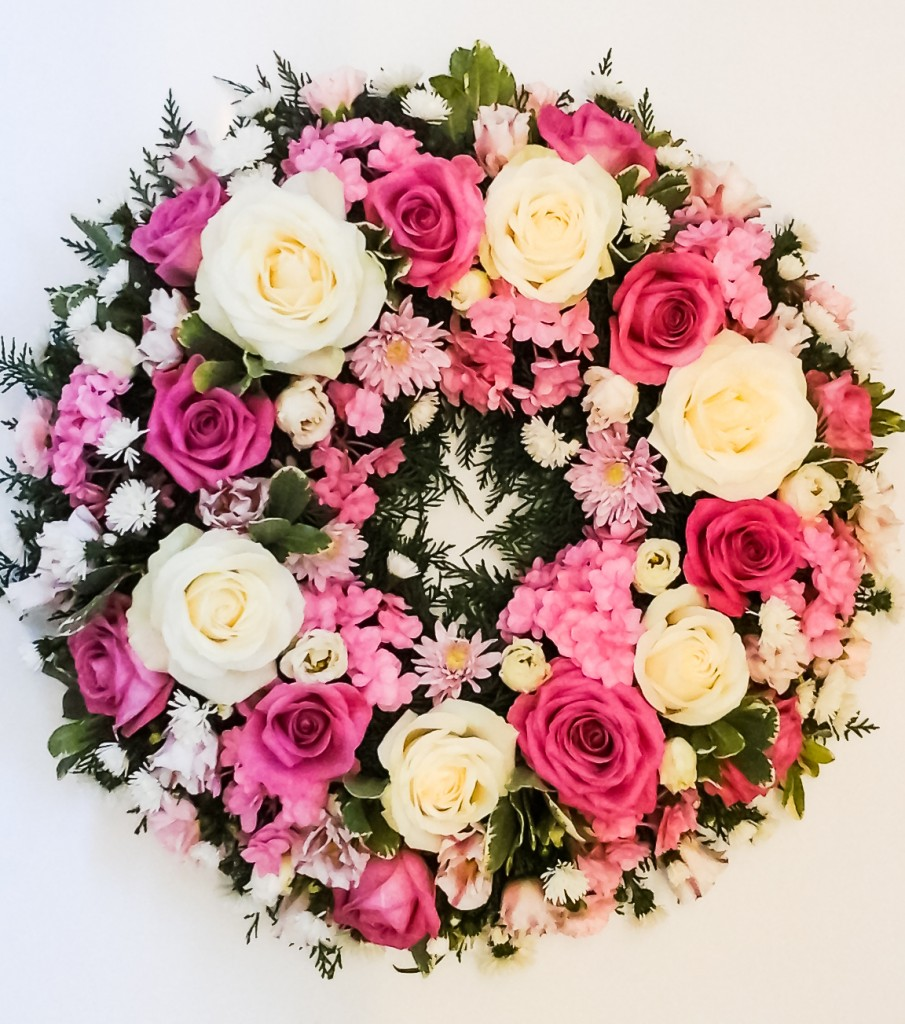 1 Loose Pink and White Wreath, Funeral, Radcliffe Florist