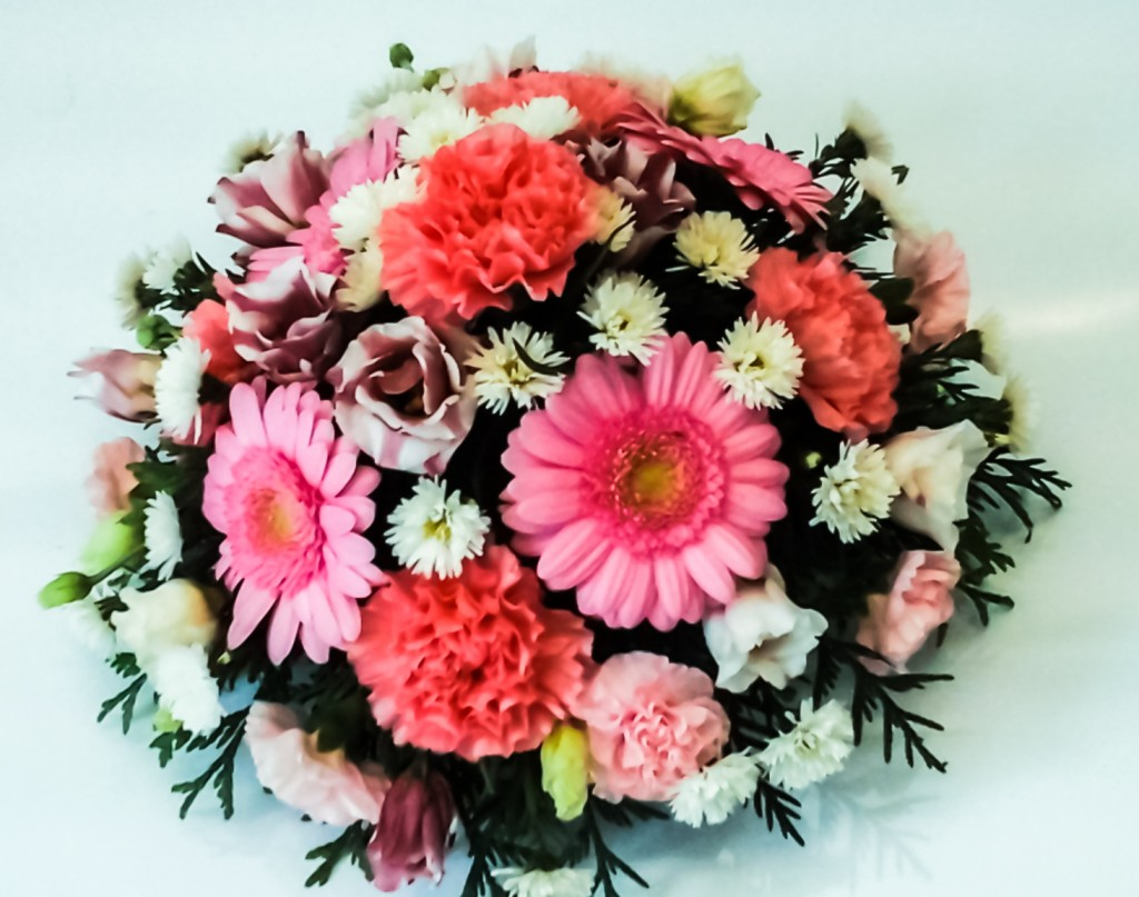 Cerise Pink Gerbera, Carnation and White mix Posy