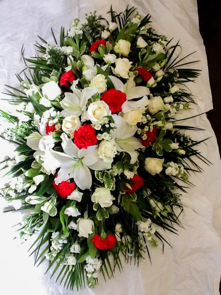 Oasis Spray, White Splash of Red, Funeral, Fresh Flowers