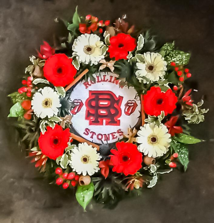 Rolling Stones Bespoke Wreath, Funerals, Radcliffe Florist