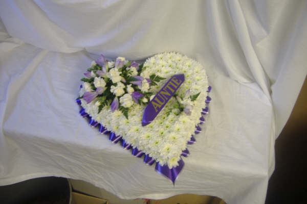 Solid Blocked Heart, Purple, White, Funeral, Radcliffe Florist