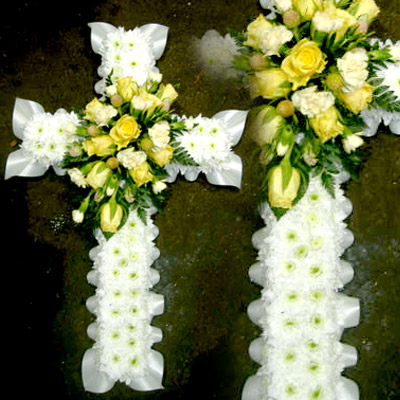 Blocked Cross, White, Yellow, Funeral, Radcliffe Florist