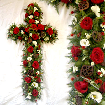 Loose Woodland Cross, Red Roses, Funeral, Radcliffe Florist