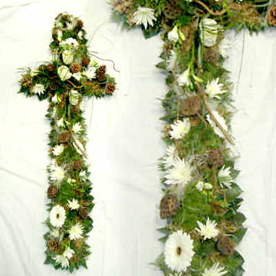 Loose Woodland Cross, Whites, Greens, Funeral, Radcliffe Florist
