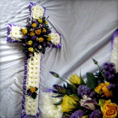 Blocked Cross, Funeral, Yellow, Lilac, Radcliffe Florist