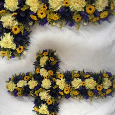 Loose Cross, Yellow, Purple, Funeral, Radcliffe Florist