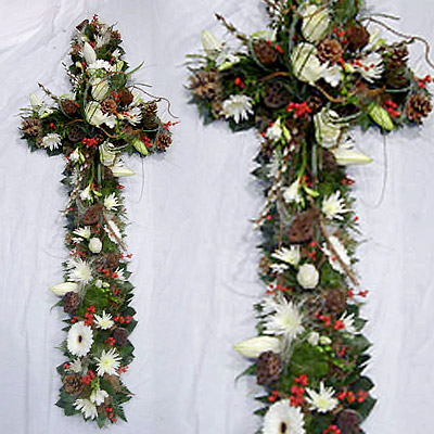 Funeral Cross, Radcliffe Florist, Woodland, White, Green, Red Berries,