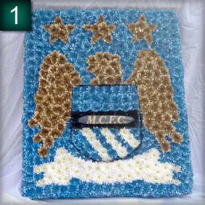 Funeral tribute, Manchester City Badge, florist, Radcliffe, bury