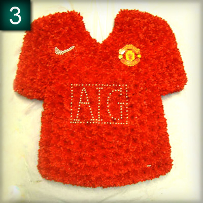 Man United Shirt 2009 made from flowers, Radcliffe Florist, Funeral