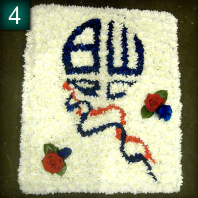 Funeral tribute, Bolton Wanders Badge, florist, Radcliffe, bury