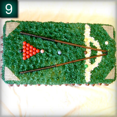Snookertable, Sports tribute, Flowers, Florist, Radcliffe, Bury