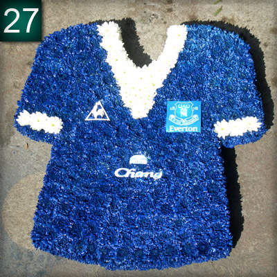 Everton Shirt 2009 made from flowers, Radcliffe Florist, Funeral