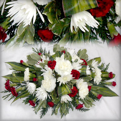 Oasis Spray, Red, White, Carnations, Radcliffe Florist, Funeral