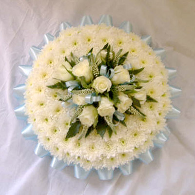 6 Sky Blue, White, Blocked Posy, Roses, Radcliffe Florist, Flowers