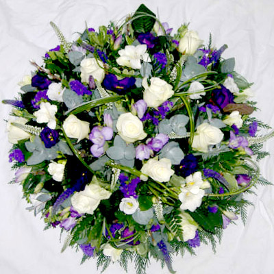 Loose Purple, Lilac, White, Posy Pad Mixed Flowers, Radcliffe Florist