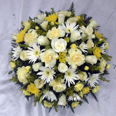 Loose Yellow, Cream, White, Posy Pad Mixed Flowers, Radcliffe Florist