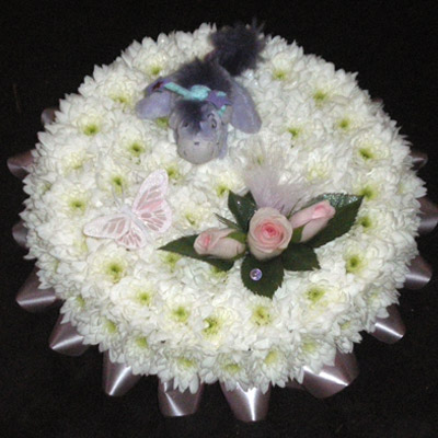 Teddy, Butterfly, Blocked Posy Pad, White, Pink, Radcliffe Florist, Flowers