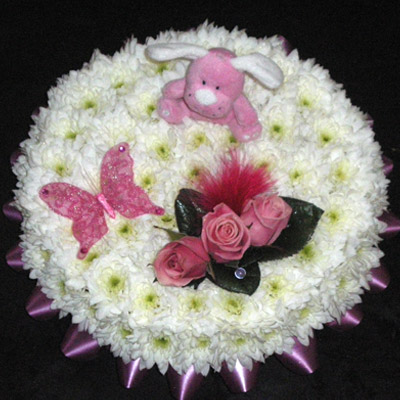 Blocked Posy Pad, White, Pink, Radcliffe Florist, Flowers