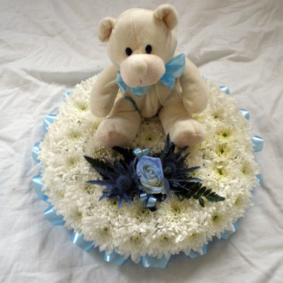 Teddy, Blocked Posy Pad, White, Blue, Radcliffe Florist, Flowers
