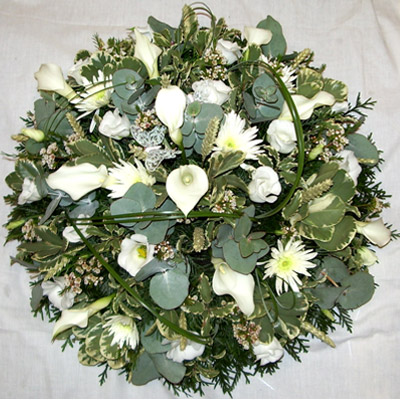 Loose White, Green Posy Pad, Calla Lilies, Florist, Radcliffe, Flowers