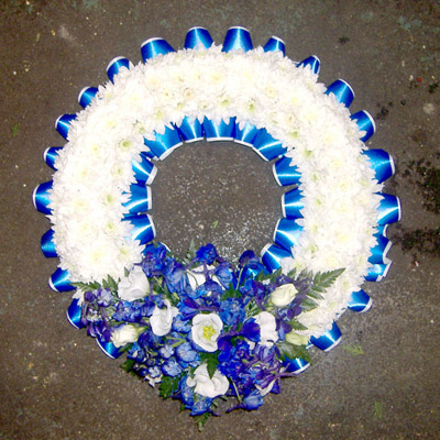 13 Wreath Royal Blue, White, Delphinium, Funerals