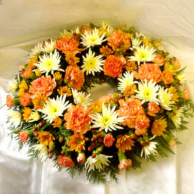 Wreath in Orange and Cream, Funerals, Radcliffe Florist, Flowers