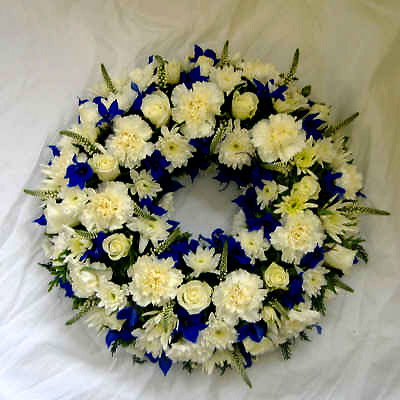 Wreath White, Royal Blue, Funeral, Radcliffe Florist