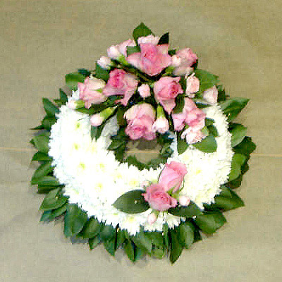 Greened Blocked Wreath, Radcliffe Florist, Fresh Flowers, Funeral