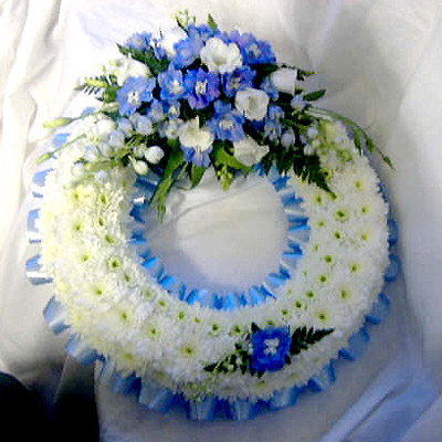 Blocked Wreath Sky Blue, White, Funerals, Radcliffe Florits