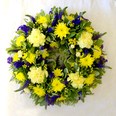 Wreath, Yellows, Purples, Funerals, Radcliffe Florist, Flowers