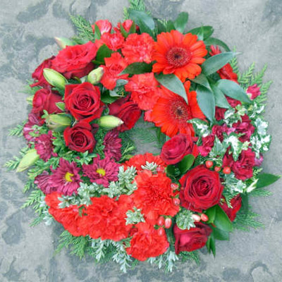 Wreath, Mixed Reds, Funeral, Radcliffe Florist, Fresh Flowers
