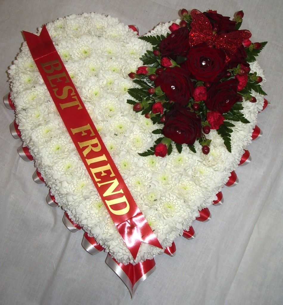 Blocked Heart Red and White, Funeral, Radcliffe Florist, Flowers