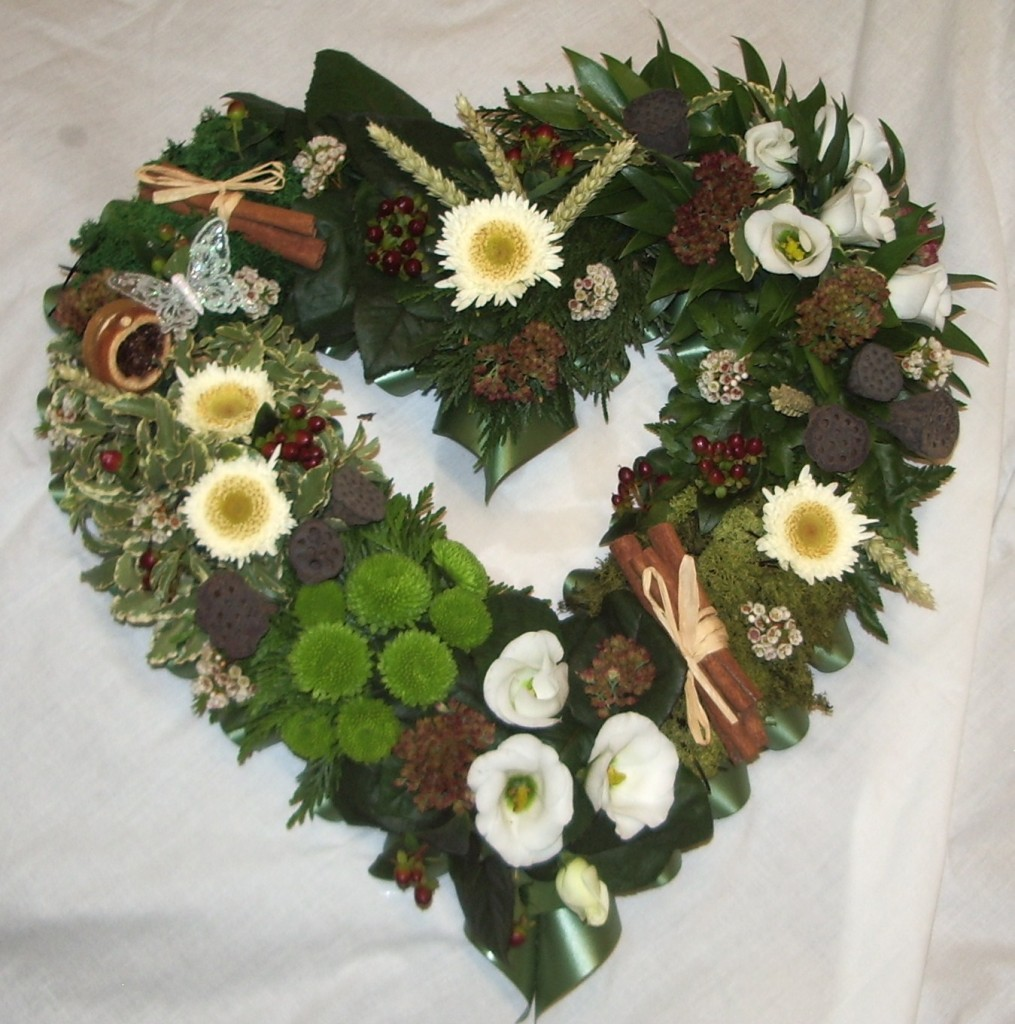 Natural Open Heart, Funerals, Fresh Flowers, Radcliffe Florist