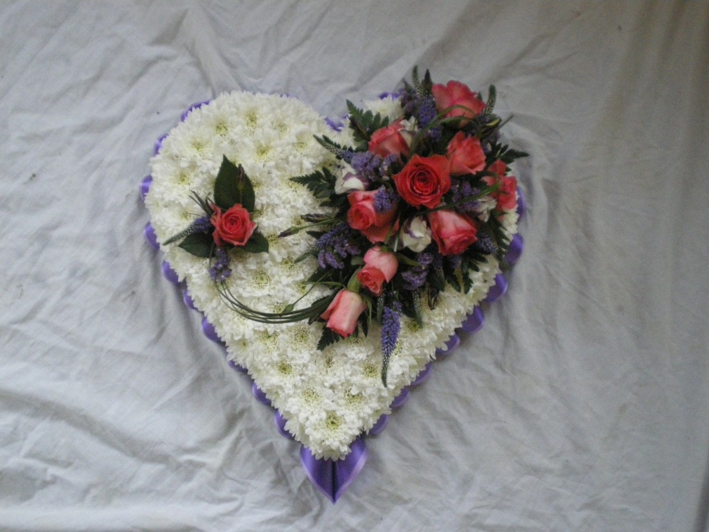 13 Blocked Solid Heart | White, Purple, Cerise, Funeral, Radcliffe Florist