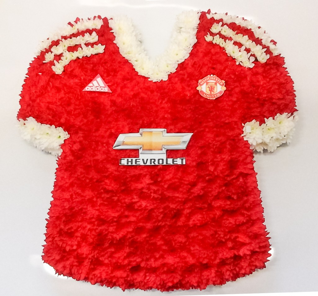 Man United Shirt 2015 made from flowers, Radcliffe Florist
