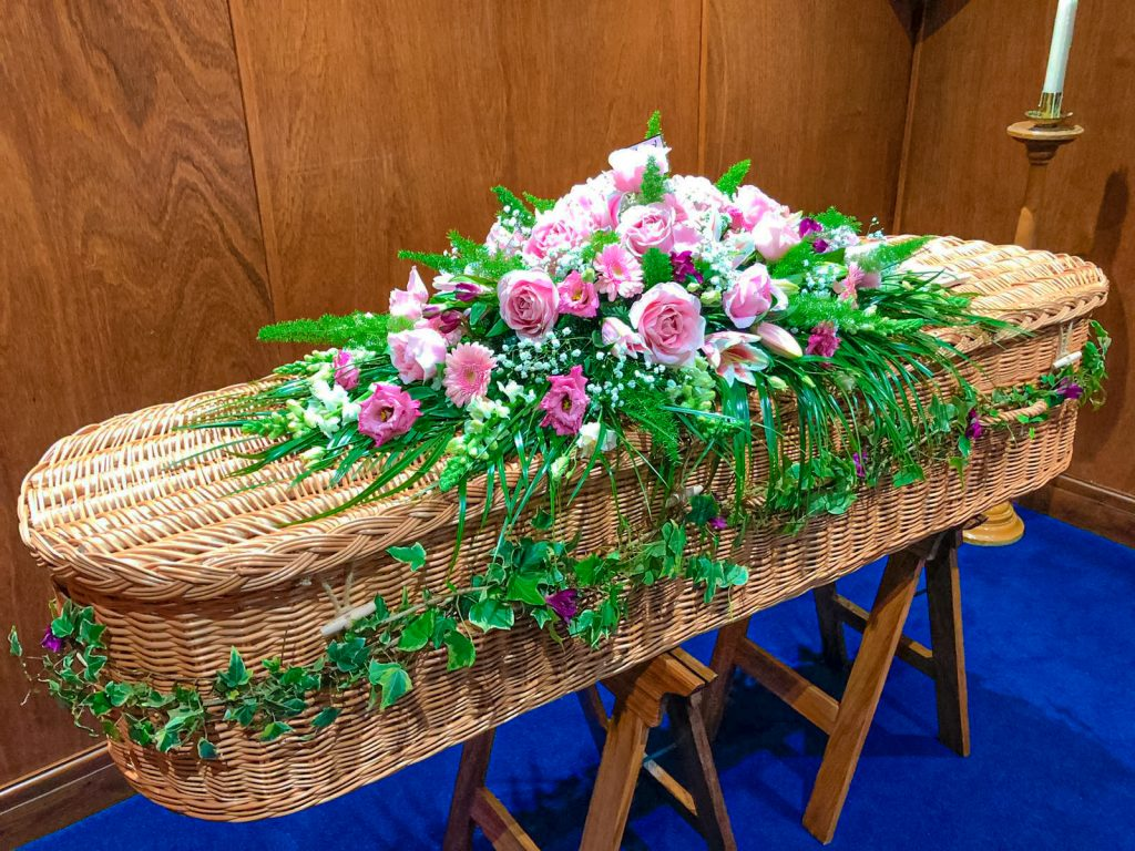 Coffin Arrangement with Soft Pink Shades with Foliage, Radcliffe