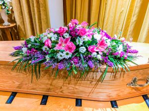 Coffin Arrangement Bright Shades Of Pink, Cerise and Purple