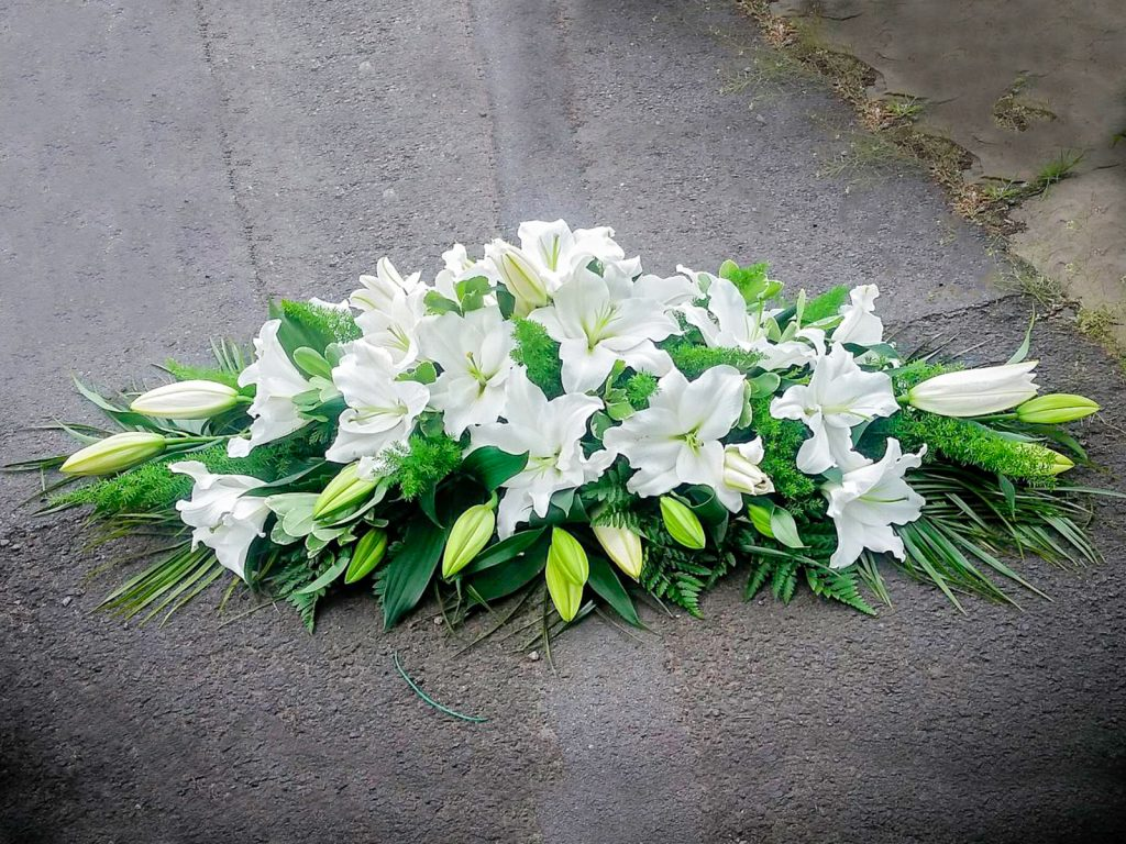 Coffin arrangement White Oriental Lilies and Mixed Foliage